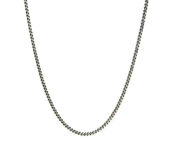 Unisex Oxidised Sterling Silver Necklace Chain - 51 cm