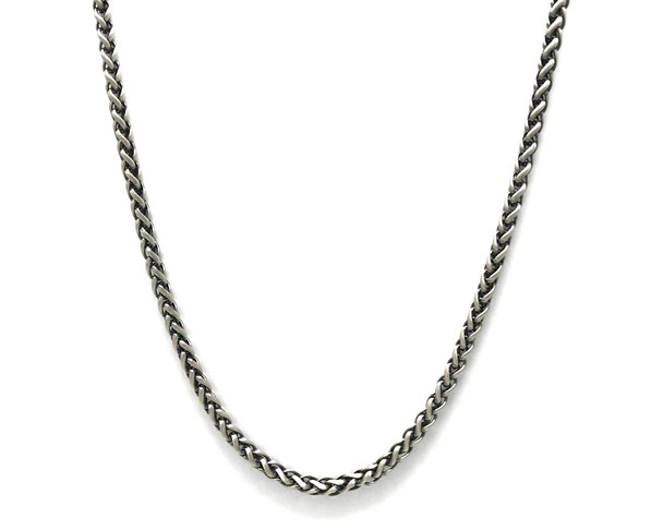 Men's Oxidised Sterling Silver Detailed Chain Necklace - 51 cm