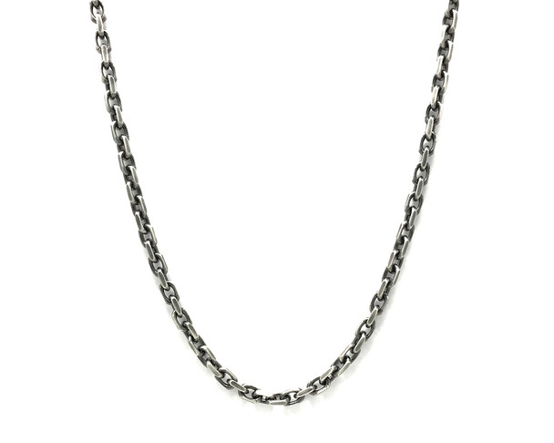 Men's Oxidised Sterling Silver Anchor Chain Necklace - 51 cm