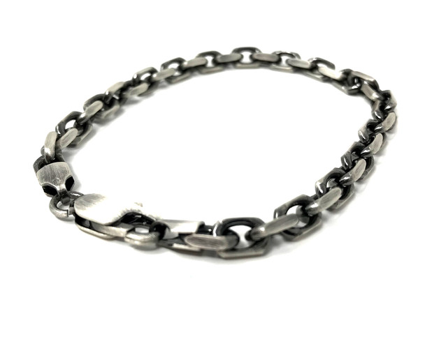 Men's Oxidised Chunky Anchor Style Sterling Silver Bracelet