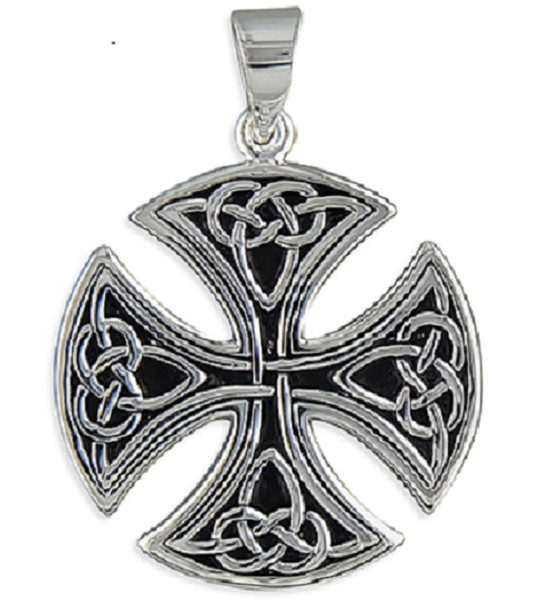 Men's Large Round Celtic Cross Pendant - Sterling Silver