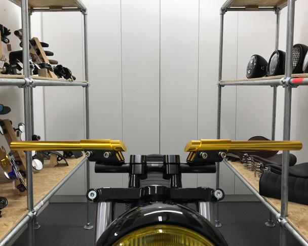 "GOLD 7/8"" 22mm Handlebar Custom Cafe Racer Brat Bike Retro Project Motorbike"