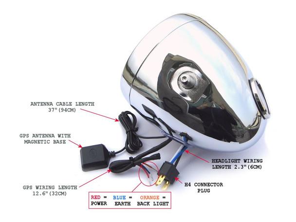 "5 3/4"" Vintage Style Black Metal Motorcycle Motorbike Headlight with Prison Grill & Integrated Digital GPS Speedometer"