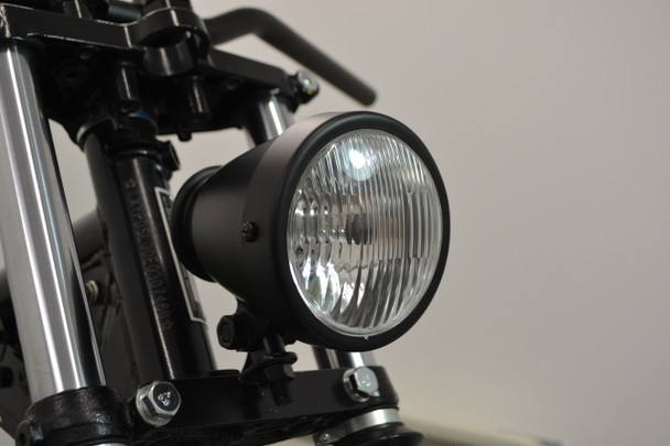 "4.5"" Vintage Style Custom Retro Motorbike Motorcycle Matt Black Headlight"