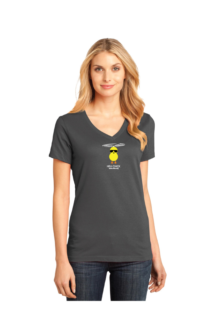 Ladies Dark Gray V-neck Tee