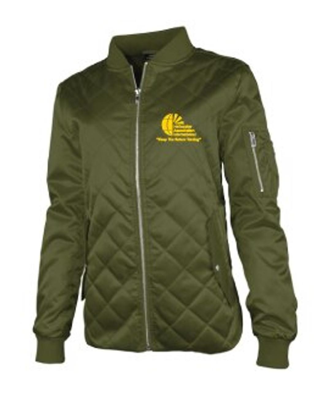 Ladies Green Quilted Flight Jacket