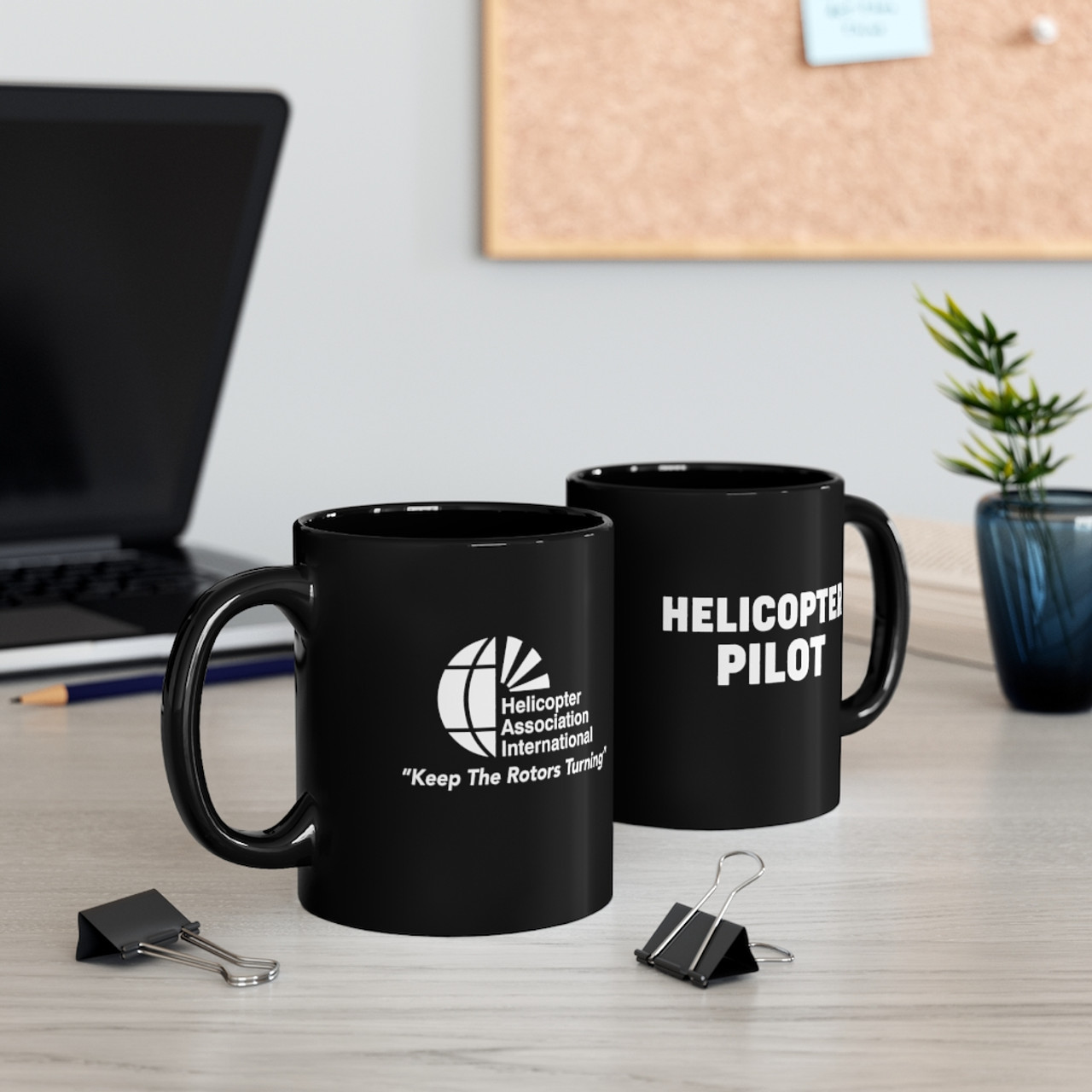 "Black 11oz ""Helicopter Pilot"" Ceramic Mug"