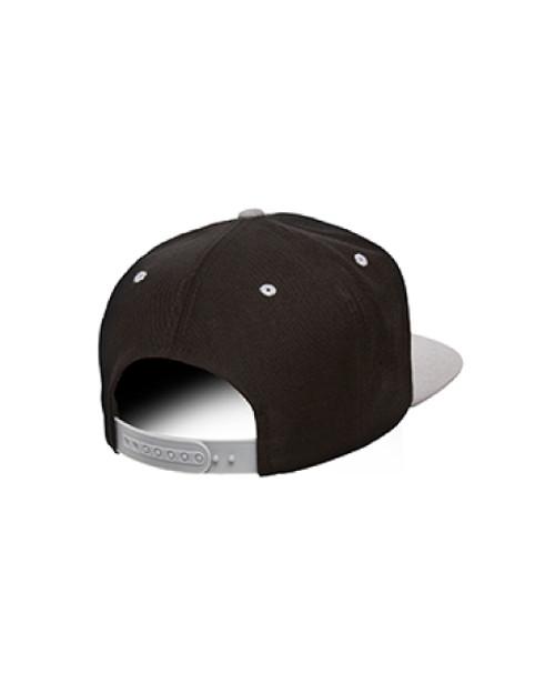 Black/Silver Flat Brim Classic Snapback