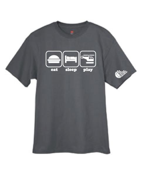 "Charcoal ""eat-sleep-play"" T-shirt"