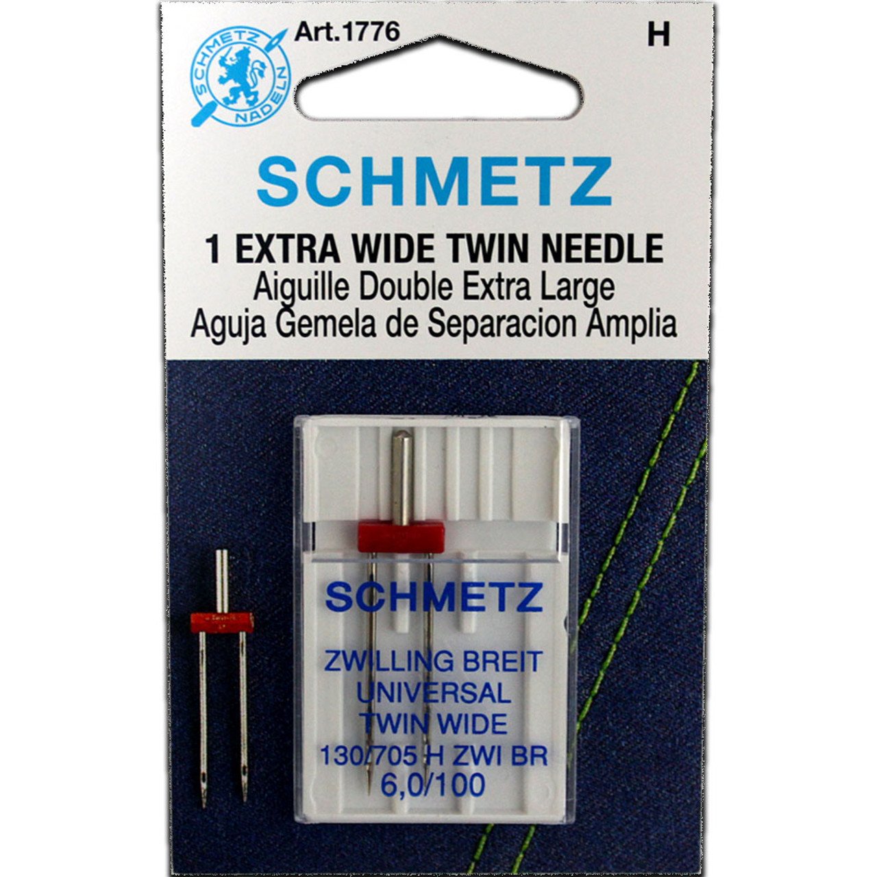 Schmetz 130//705H ZWI Embroidery Twin Sewing Machine Needle 3 Pk Assorted Size