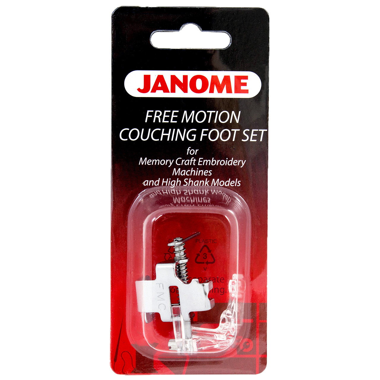HONEYSEW 9pcs Clarity Clear Couching Decorative Foot Threads Yarns FEET Quilting Embroidery Free Motion Echo Presser Foot for Low Shank Sewing Machines