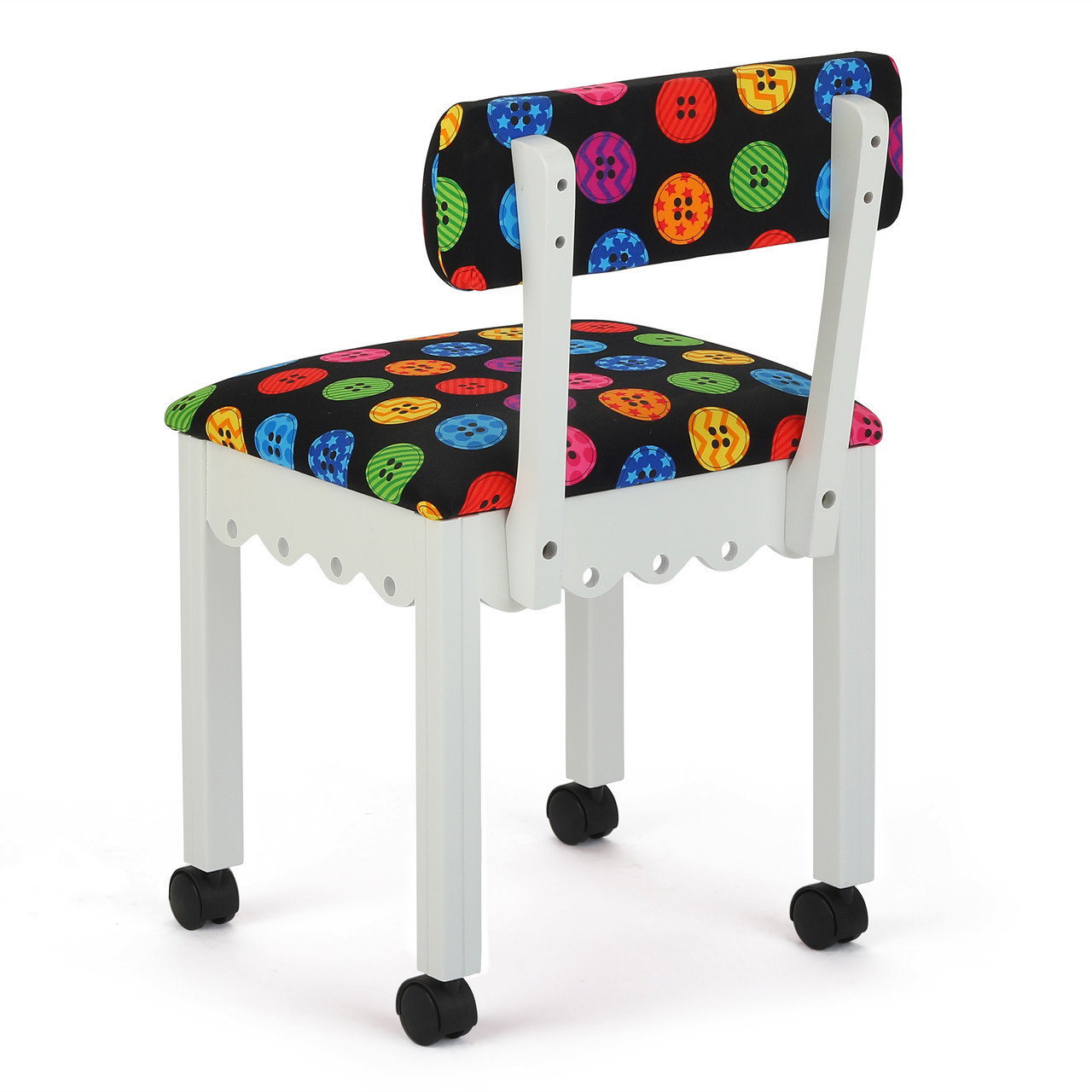 Astounding Arrow Sewing Chair In White With Button Fabric Theyellowbook Wood Chair Design Ideas Theyellowbookinfo