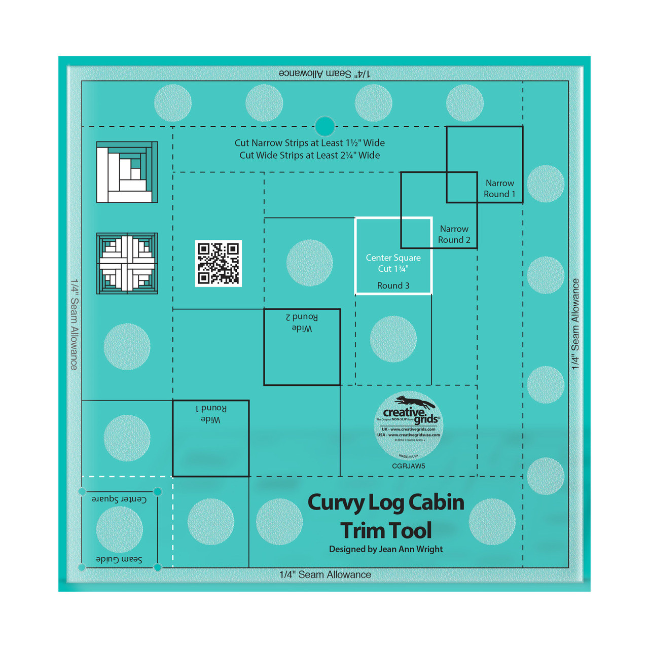 Creative Grids Curvy Log Cabin Trim Tool Quilting Ruler Template For 6in Finished Blocks