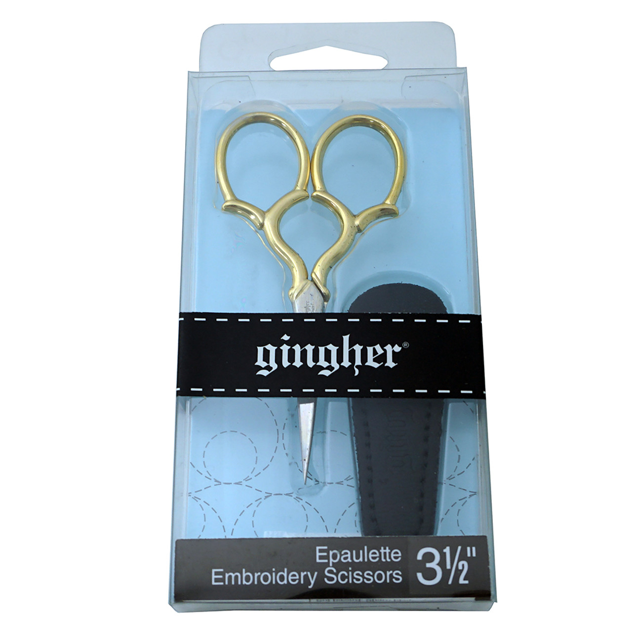 "Gingher Gold-Handled Epaulette Embroidery Scissors 3.5/""-W//Leather Sheath"