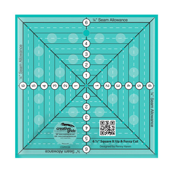Creative Grids 6-1/2in Square It Up or Fussy Cut Square Quilt Ruler
