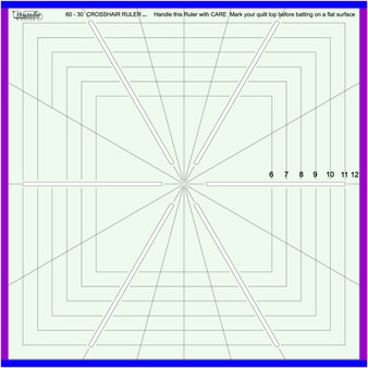 """Sew Steady Westalee 12.5"""" Crosshair square 5 Point Ruler"""