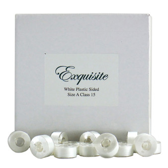 Dime Exquisite White, Style A, Plastic Sided Bobbins