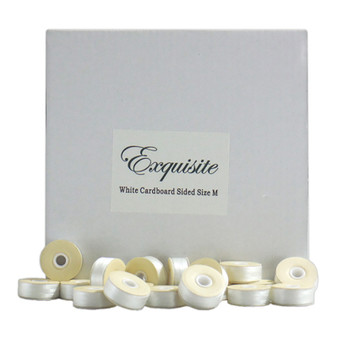 Dime Exquisite White, Style M, Cardboard Sided Bobbins
