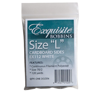 Dime Exquisite White, Style L, Cardboard Sided Bobbins