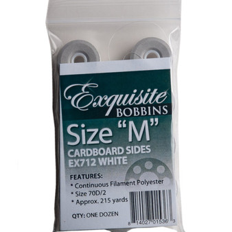 Dime Exquisite White, Style M, Cardboard Sided Bobbins – 12 pack