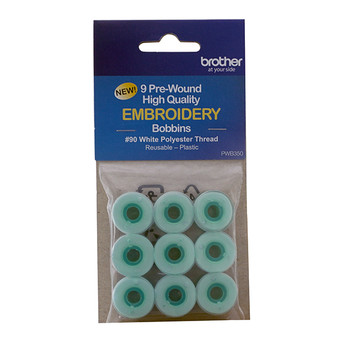 Brother Pre-wound Embroidery Bobbins, #90 white, 9-pack 11.5 size