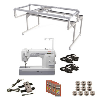 Janome 1600P-QC Grace Q-Zone Hoop Frame with Speed Control Machine Quilting Combo 8