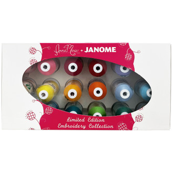 Janome 18 mini-king spools of Anna Maria's favorite polyester embroidery threads