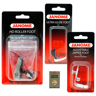 Janome Roller Leather Foot, Ultrgalide Foot, Adjustable Zipper Foot, HLX5-11 Needles for HD9