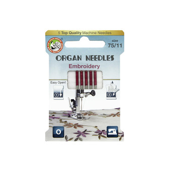 Organ ECO Needles Embroidery Size 75/11 - 5 Needles Per Pack