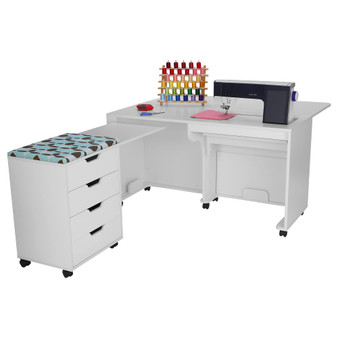 Arrow Laverne Sewing Cabinet with Shirley Four Drawer Storage Cabinet in White