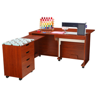Arrow Laverne Sewing Cabinet with Shirley Four Drawer Storage Cabinet in Teak