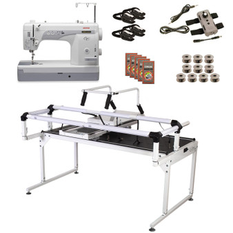 Janome 1600P-QC Grace Q-Zone Hoop Frame Pro with Speed Control Machine Quilting Combo 12