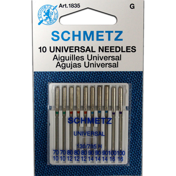 Schmetz Universal Needles / 10 Pack - Large Size Assortment (2 - 70/10, 3 - 80/12, 3 - 90/14, 2 - 100/16)