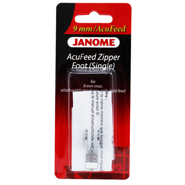 Janome AcuFeed Flex Zipper Foot ED (single) for 9mm Machines