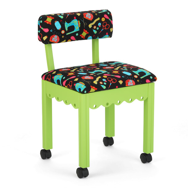Arrow 7014B Chair In Green And Riley Blake Black Upholstery