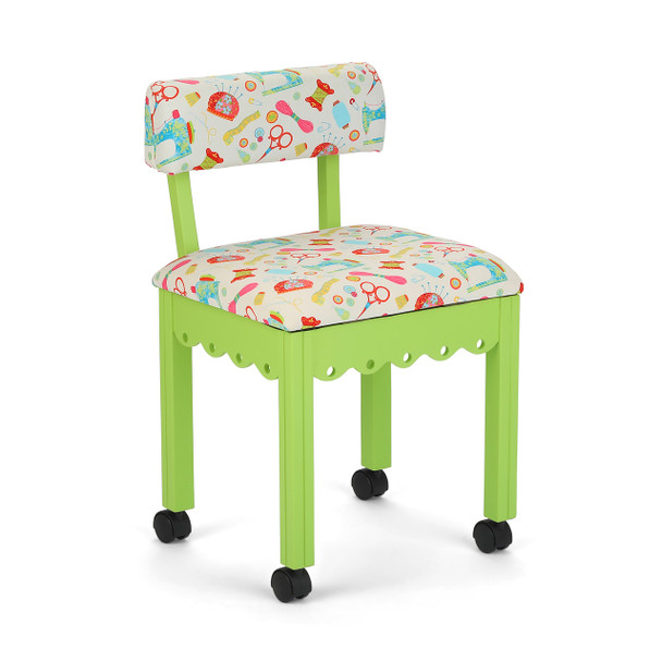 Arrow 7014W Chair In Green And Riley Blake White Upholstery