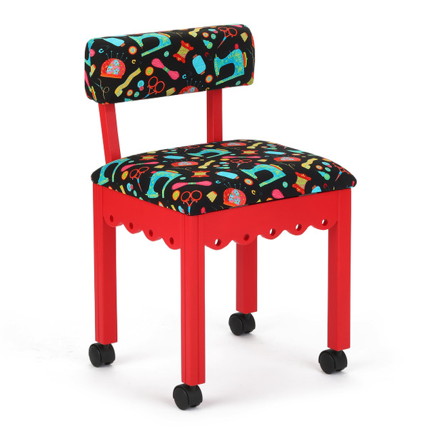 Arrow 7016B Chair In Red And Riley Blake Black Upholstery