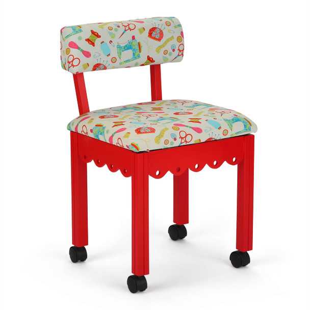 Arrow 7016W Chair In Red And Riley Blake White Upholstery