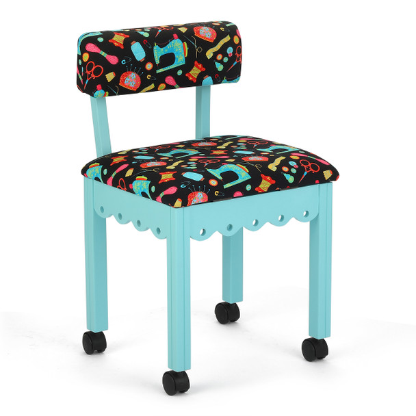 Arrow 7019B Chair In Blue And Riley Blake Black Upholstery