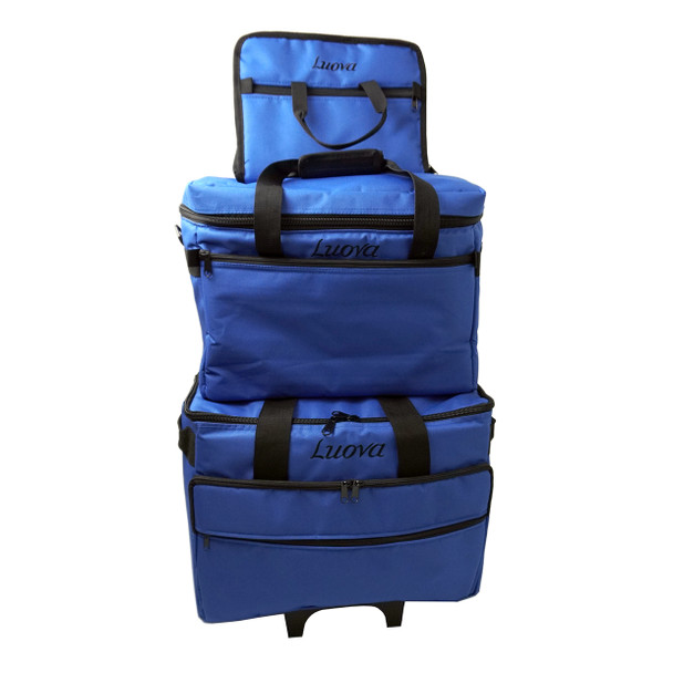 "Luova 19"" 3 Piece Rolling Sewing Machine Trolley Set in Cobalt Blue"