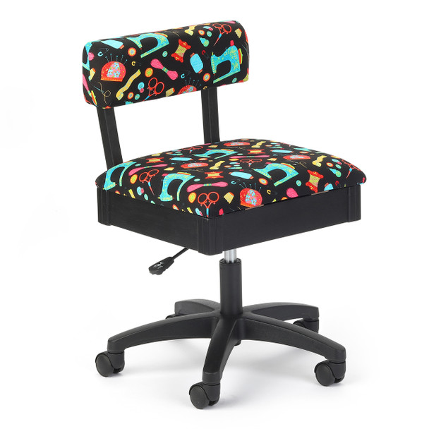 Arrow H7013B Hydraulic Chair in Riley Blake Black Upholstery