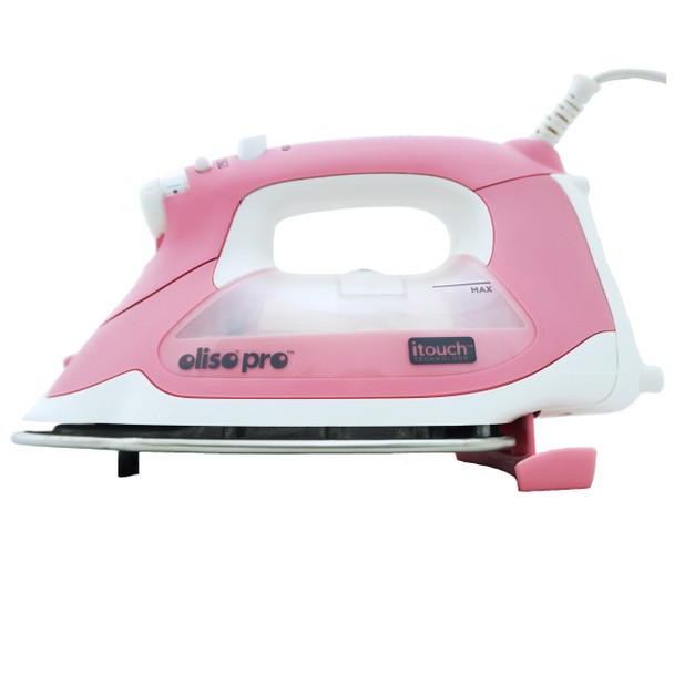 Oliso Pro Smart Iron TG-1600 in Pink - Safety feature is engaged when not in use to prevent burning!