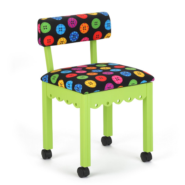 Arrow Sewing Chair in Green with Button Fabric