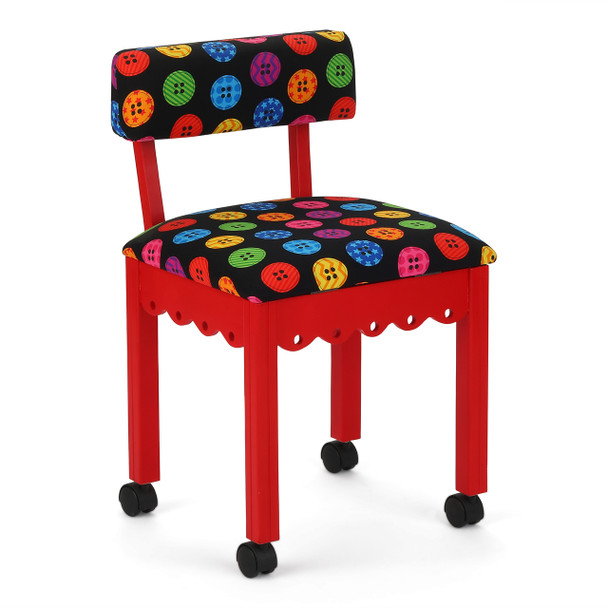 Arrow Sewing Chair in Red with Button Fabric