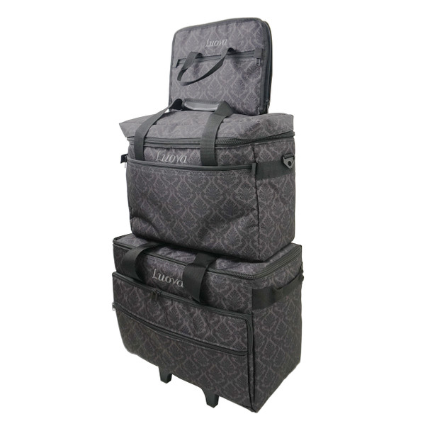 """Luova 19"""" 3 Piece Rolling Sewing Machine Trolley Set in Black and Grey Print"""