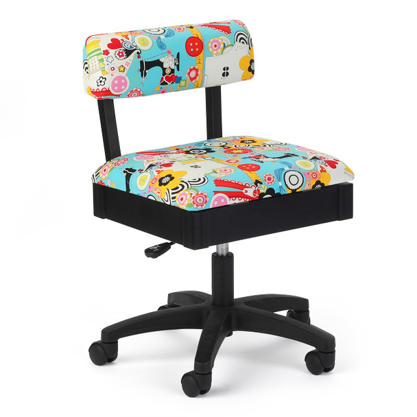 Arrow Hydraulic Sewing Chair with Sew Now Sew Wow Fabric