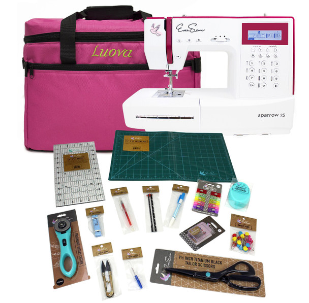 EverSewn Sparrow 25 – 197 Stitch Computerized Sewing Machine With Sewing Bundle