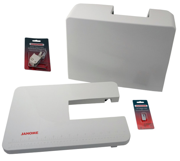 Janome Kit with Table, Cover, Even Feed and Quarter Inch Foot.