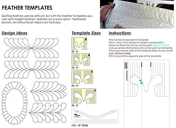 "Sew Steady Feather Template Set of 4 (2""–5"")"