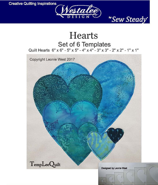 Sew Steady-Westalee Heart Templates 6PC Longarm 6mm Set